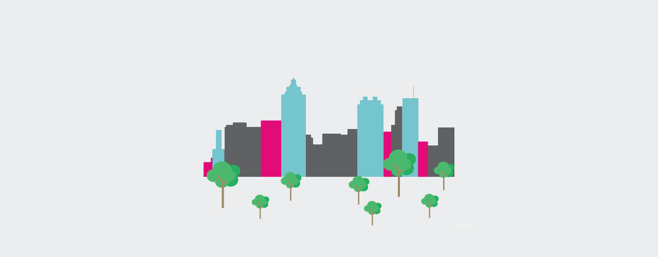City Skyline and Park Graphic