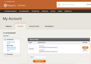 Magento Connect Secure Keys