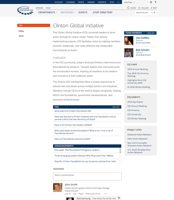 Clinton Foundation Landing Page