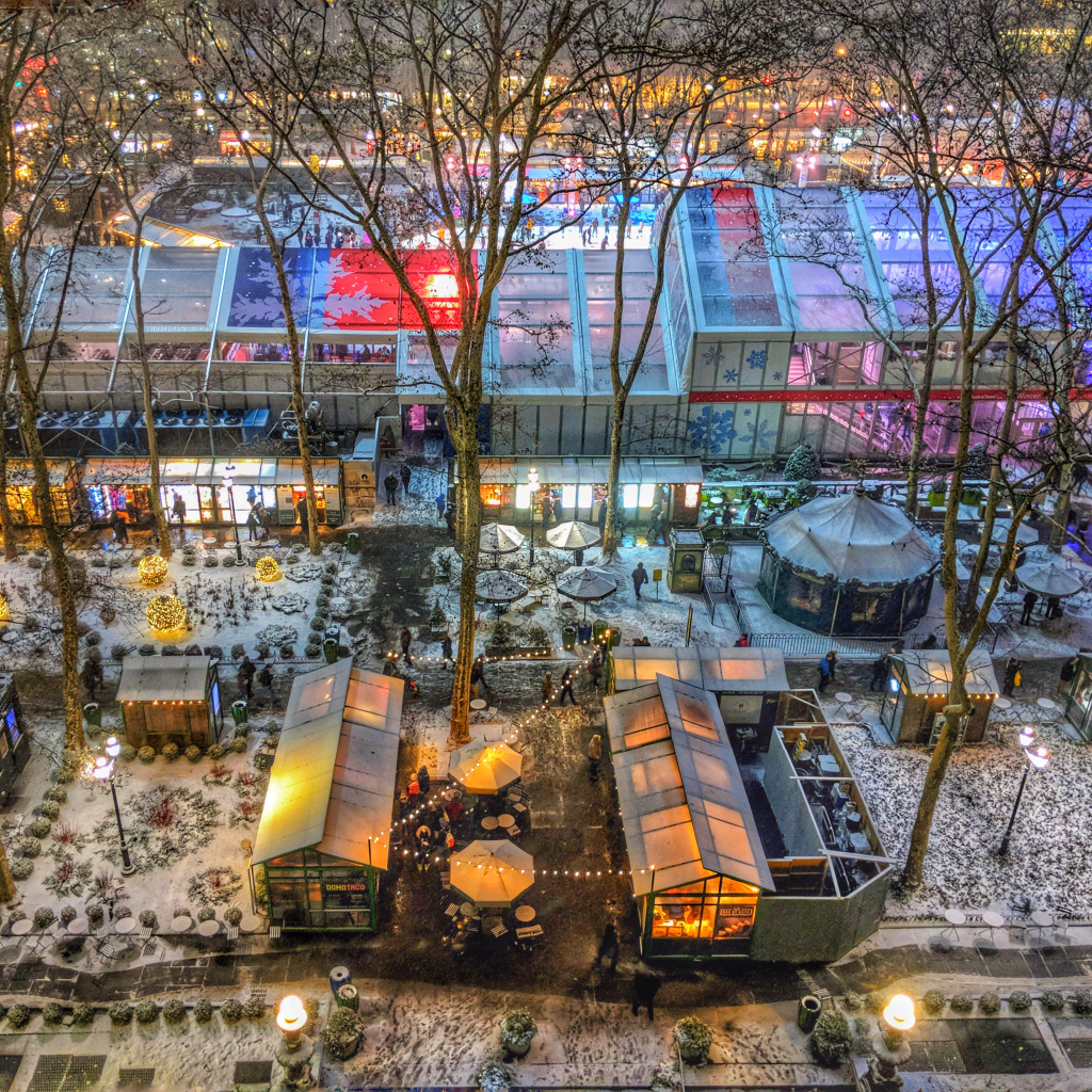 Bryant Park Holiday Village view from Something Digital office