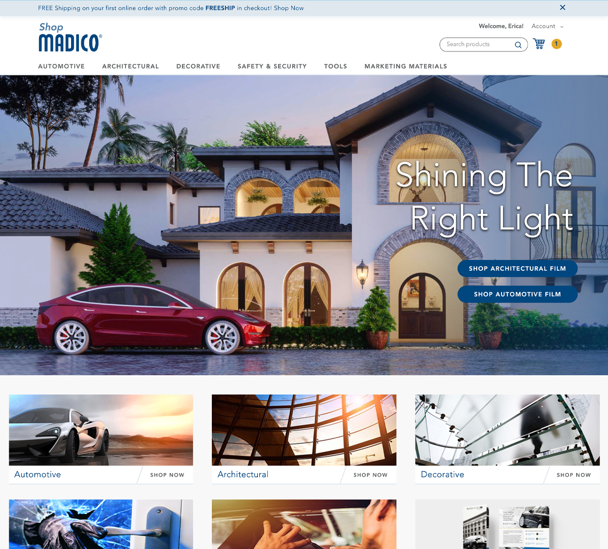 Shop Madico homepage design